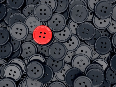 standing out: Unique red clothing sewing button among many dark ones. Standing out from crowd, individuality and difference concept. 3D illustration