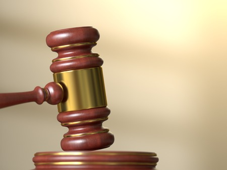 courtroom: Wooden judge gavel with stand on defocused courtroom background. Law, justice and auction concept. 3D illustration
