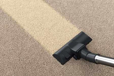 Stofzuiger borstel op vuile tapijt met schoon strip. Stofzuigen, schoonmaak en huishoudelijk werk concept. 3D illustratie
