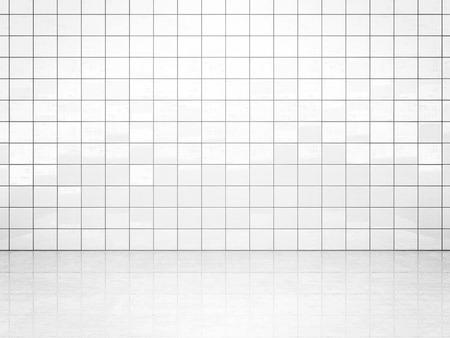 Mur de carreaux de céramique blanche et sol en béton. Fond de salle de bain ou de toilette. Illustration 3D
