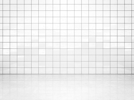 White ceramic tile wall and concrete floor. Bath or toilet room background. 3D illustration Фото со стока