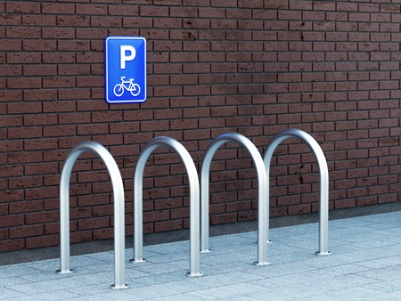 bike parking: Empty outdoor bike parking with bicycle sign on brick wall. 3D illustration