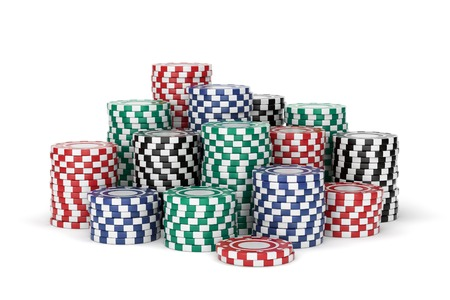 Group of colorful gambling chip stacks. Red, green, blue and black casino tokens isolated on white background. 3D illustration