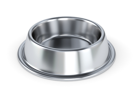 Metal pet bowl for dogs or cats isolated on white background. 3D illustratin