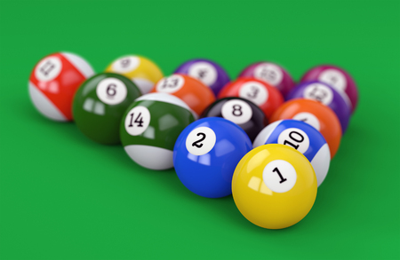 Pool ball pyramid on green billiard table cloth. Group of glossy colorful retro game balls with numbers on defocused background. 3D illustration