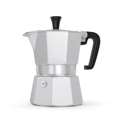 Moka coffee pot. Metal italian espresso maker isolated on white background. 3D illustration Archivio Fotografico