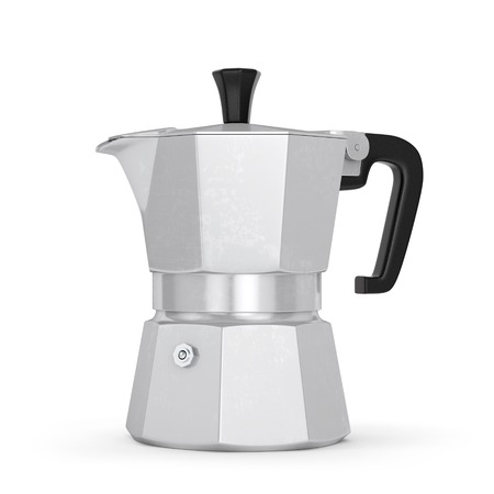 Moka coffee pot. Metal italian espresso maker isolated on white background. 3D illustration Imagens