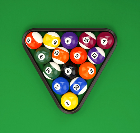 Pool ball pyramid on green billiard table cloth. Group of glossy colorful retro game balls with numbers and plastic triangle, top view. 3D illustration Stock Photo