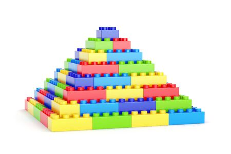 Pyramid made of plastic toy blocks isolated on white background Stock Photo