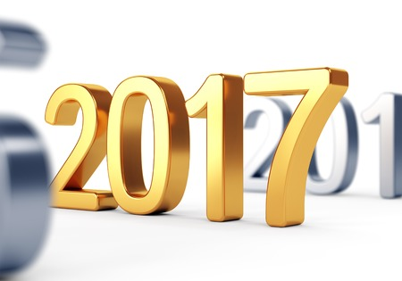 background next: 2017 Happy New Year and Merry Christmas concept. Gold number on white background. 3D illustration Stock Photo