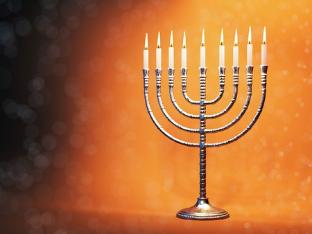 channukah: Hanukkah menorah with burning candles on defocused glitter background. Traditional jewish holiday celebration greeting card concept. 3D illustration