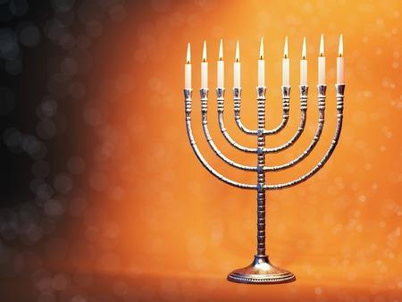 chanukkah: Hanukkah menorah with burning candles on defocused glitter background. Traditional jewish holiday celebration greeting card concept. 3D illustration