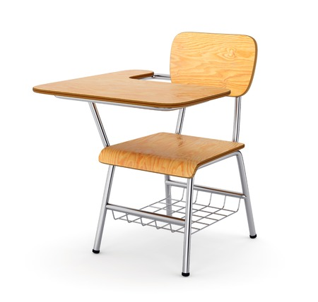 chair wooden: School or college desk table with chair isolated on white background. Wooden piece of furniture. 3D illustration