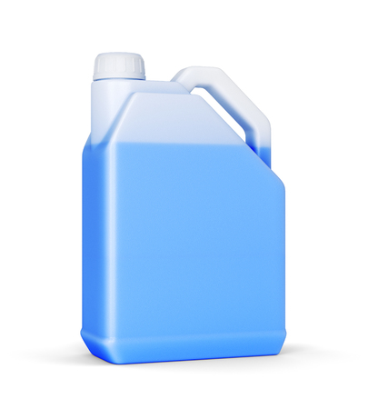 Plastic canister with blue car liquid isolated on white background. Antifreeze or wiper in jerry can. 3D illustration Stock Photo