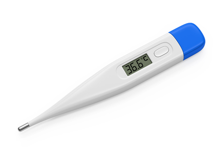 body temperature: Electronic digital thermometer isolated on white. Healthy human body temperature 36.6 degrees celsius on display. 3D illustration