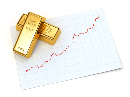 Gold bars and growing stock market price chart isolated on white background. Financial success, business investment and trading concept. 3D illustration