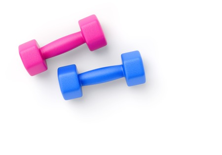Two rubber or plastic coated fitness dumbbells of pink and blue color isolated on white background. 3D illustration