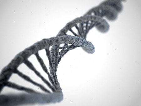 白の抽象的な背景 DNA 分子のスパイラル構造。生物学、科学および医療技術コンセプト。3 D イラストレーション
