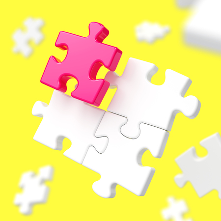 Unique red puzzle piece among many white assembling puzzles on yellow background. Standing out from crowd, individuality, difference, leadership, creativity and teamwork concept. 3D illustration