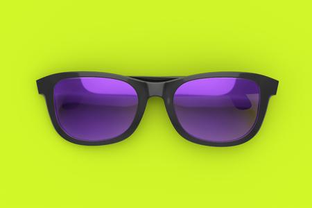 Lila und schwarze Sonnenbrille auf lebendigen grünen Hintergrund. Farbe Kunststoff Sonnenschutzbrille. Sommerurlaub und Strandkonzept. 3D-Darstellung der Sonnenbrille Standard-Bild - 76860745