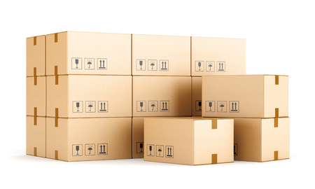 white boxes: Cardboard boxes isolated on white background. Warehouse, shipping, cargo and delivery concept. 3D illustration