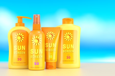 Sunscreen set: sun protection cream, lotion and spray in bottles and tube containers on blury beach background. Summer leisure and sun tanning concept. 3D illustration Stock Photo
