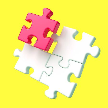 Red and white assembling puzzle pieces on yellow background. Difference, leadership, creativity and teamwork concept. 3D illustration Stock Photo