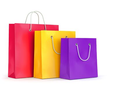 Group of color paper shopping bags isolated on white background. Business, retail, sale and online commerce concept. 3D illustration