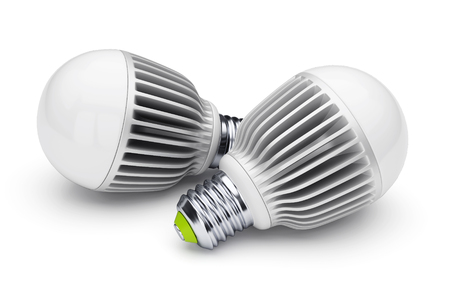 Two LED energy saving bulbs isolated on white background. 3D illustration
