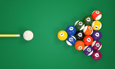 Biljartkeu doel piramide groep van kleurrijke glanzend zwembad spel ballen met nummers op groene snooker tafel. Set pool-ballen. 3D illustratie Stockfoto