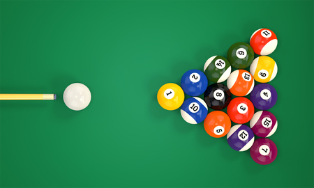 Billiard cue aim pyramid group of colorful glossy pool game balls with numbers on green snooker table. Set of pool-balls. 3D illustration