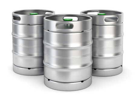 aluminum: Group of aluminum beer kegs with green lid isolated on white background. 3D illustration