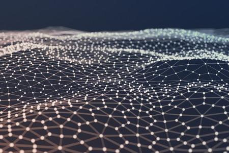 Ilustración abstracta futurista de la superficie poligonal. poli baja forma con la conexión de puntos y líneas sobre un fondo oscuro. representación 3D Foto de archivo - 85805097
