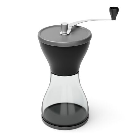 Modern burr manual coffee grinder for roasted ground coffee beans isolated on white background. 3D illustration