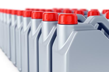 Groep grijze plastic jerrycans van de motorolie met rode deksels op witte achtergrond. Concept voor zware industrie, magazijn, verzending en productie. 3D illustratie