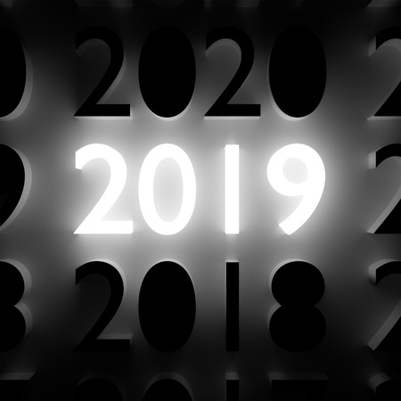 2019 New Year and Merry Christmas concept. Luminous and dark number symbols on wall. 3D illustration