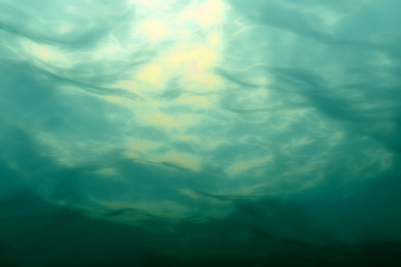Marine underwater scene. Sea water surface, bottom view. 3D illustration Stock Photo