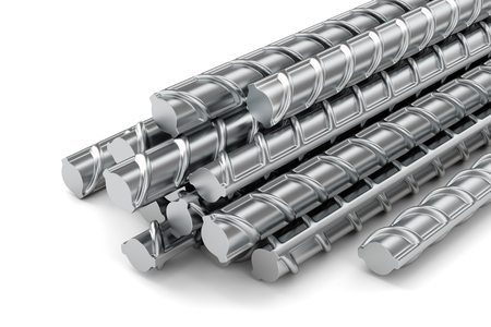 Reinforcing steel bars stacked group. Metal building armature on white background. 3D illustration Stock Photo