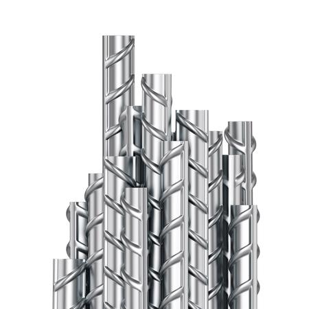 Bewehrungsstahlstäbe gestapelte Gruppe. Metallgebäudearmatur auf weißem Hintergrund. 3D-Darstellung