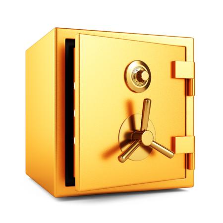 Cassaforte aperta di sicurezza della banca di colore dell'oro del metallo con la serratura di codice del quadrante isolata su fondo bianco. Illustrazione 3D Archivio Fotografico