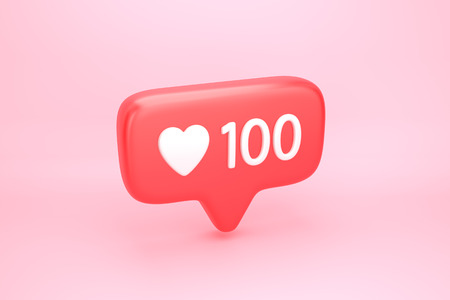 One hundred likes social media notification icon with heart symbol and number 100 on like counter. 3D illustration Stock Photo