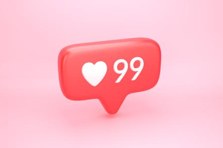 Noventa y nueve le gusta el icono de notificación de redes sociales con el símbolo del corazón y el número 99 en el contador similar. Ilustración 3D