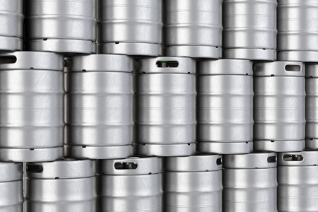 Group of aluminum beer kegs stacked in rows. 3D illustration