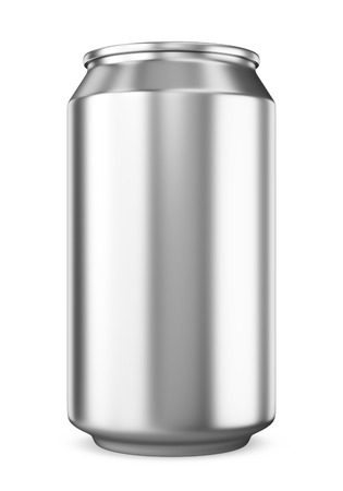 Blank metalic aluminum beer or soda cans isolated on white background. Empty tin drink can template. 3D illustration