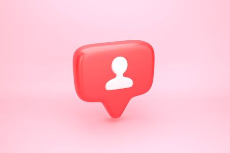 One friend request, subscriber or follower social media notification icon with user pic symbol. 3D illustration 写真素材