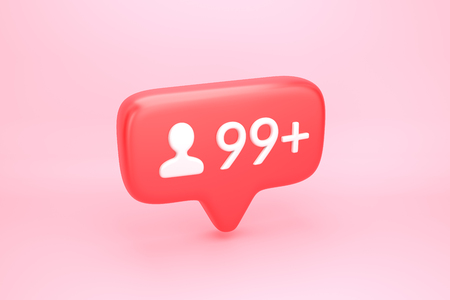 Ninety nine new friends request, subscribers or followers social media notification icon with user pic symbol and number 99 on counter. 3D illustration Stock Photo