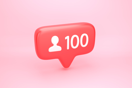 One hundred friend request, subscriber or follower social media notification icon with user pic symbol and number 1 on counter. 3D illustration