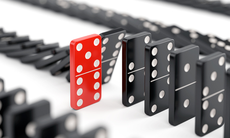 Unique red domino tile among many black dominoes. Standing out from crowd, individuality and difference concept. 3D illustration