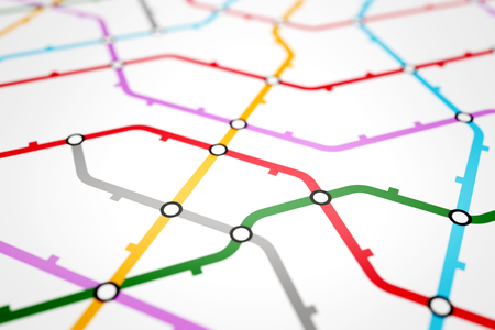 Colorful metro scheme, railway transport or city bus map on white background surface. Abstract 3D illustration Banco de Imagens