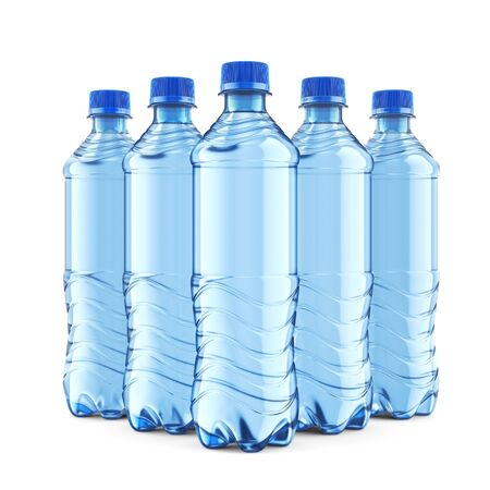 Group of five plastic bottles of still water with blue cap isolated on white background. Front view close-up. 3D illustration